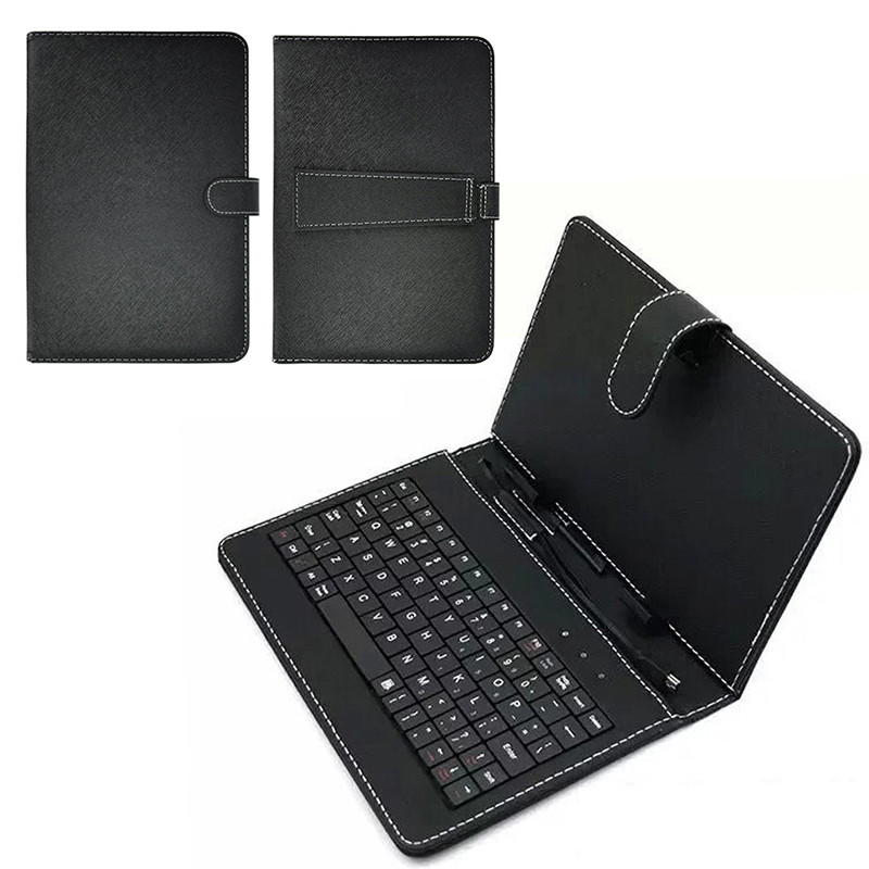 New Keyboard Dustproof Black PU+PC Leather Cover With Stand Case For Android Tablet 10.1 Inch With Built-in USB Wired Keyboard