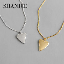 SHANICE S925 sterling silver necklace INS niche temperament glossy love heart female necklace clavicle temperament silver chain