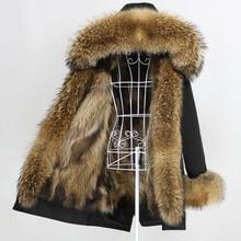 OFTBUY 2020 חדש ארוך מעייל נשים אמיתי שועל פרווה מעיל טבעי דביבון פרווה צווארון הוד עבה חם Streetwear הלבשה עליונה
