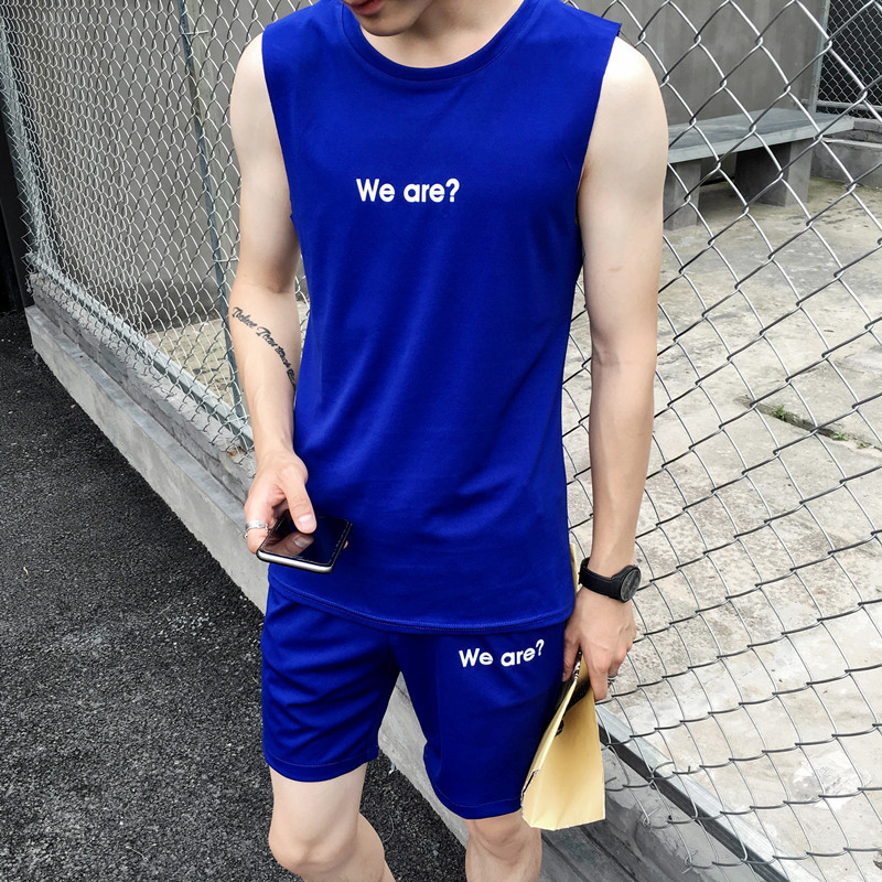 2019 Summer New Style Sleeveless Set Men Lettered Printted Waistcoat Slim Fit Teenager Shorts Fashion MEN'S Suits