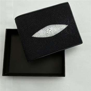 Thailand Authentic Real Stingray Leather Black White Men's Short Purse Genuine Skate Skin Male Card Holders Small Trifold Wallet