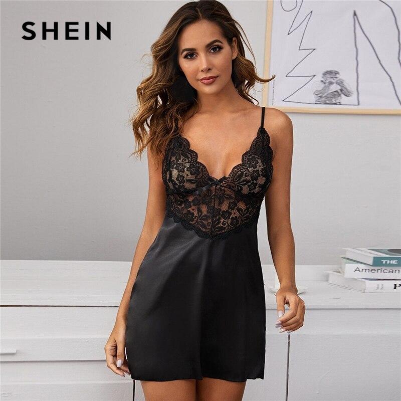 SHEIN Black Contrast Lace Satin Sexy Dress With Thong Women Nightwear Spring Sleeveless Ladies Spaghetti Strap Sleep Dresses
