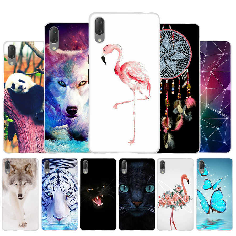 Soft Phone Case For Sony Xperia L3 Capa Soft TPU Back Cover For Sony Xperia L3 Case Silicone Cat Flower Painted For Sony L3 Bag