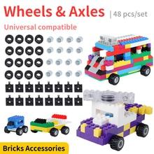 48 adet klasik araba tekerlekleri akslar yapı taşları araba blok tamamlayıcı Set şehir tuğla aksesuarları çocuklar için eğitici oyuncaklar