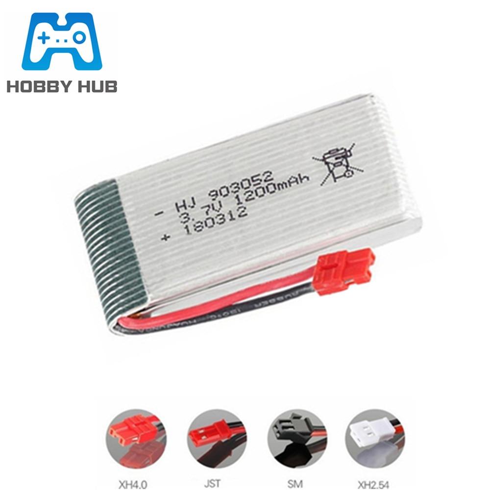 3.7V 1200mah Lipo Battery For Syma X5 X5C X5SW X5SC X5S X5SC-1 M18 H5P RC Drone Parts 903052 3.7V Battery Xh2.54 Plug