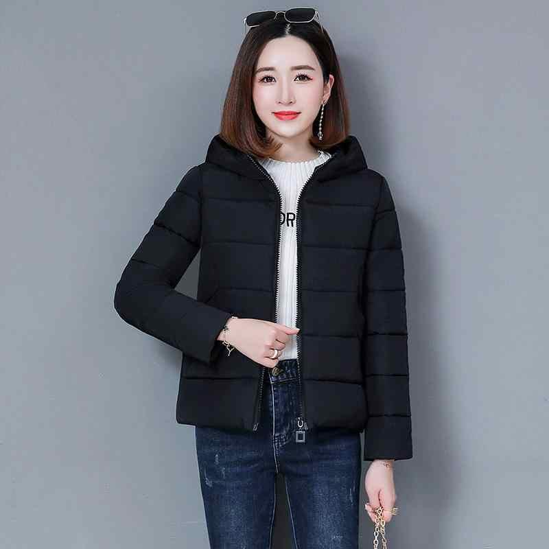2019 otoño e invierno con capucha mujer abrigo de algodón Delgado corto de algodón acolchado femenino de gran tamaño Chaqueta de algodón parka abajo de algodón