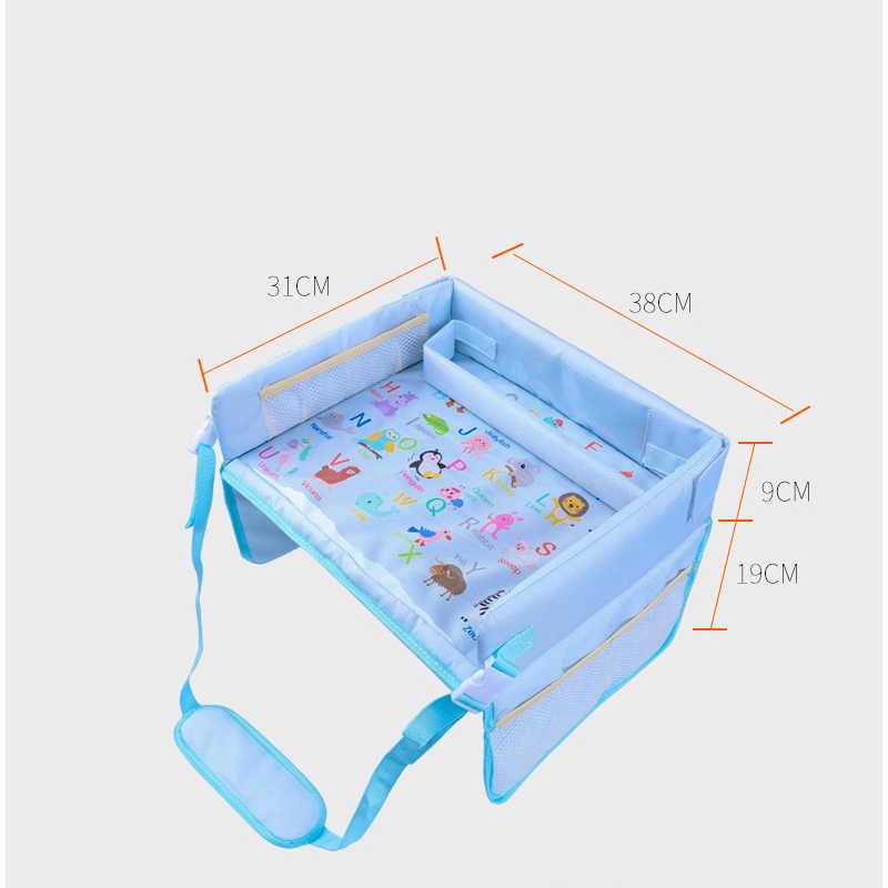 נייד מכונית תינוק מושב שולחן רב תכליתי ילד קריקטורה מכונית בטיחות מושב מגש עמיד למים לשחק שולחן חטיפים ארגונית אחסון