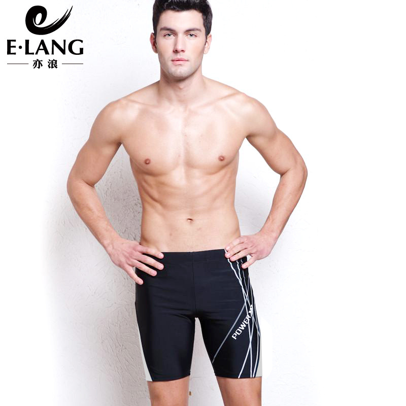 MEN'S Swimming Trunks Long 5 Short Plus-sized Offset Printing Lines Black Stripe Fashion Hot Springs MEN'S Swimming Trunks