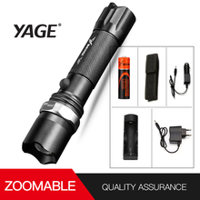 Brand YAGE 336C CREE XP-E LED Flashlight Aluminum Waterproof Zoomable Self defense Torch Light with1*18650 Battery +car charger jetbeam t6 4 cree xp l 4350 lumens led flashlight 4 modestactical light compatible by 3 18650 battery for self defense