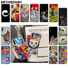 Art portrait cat TPU black Phone Case Cover Shell for Samsung Note 3 4 5 7 8 9 10 pro A7 2018 A10 A40 A50 A70 J7 2018(China)
