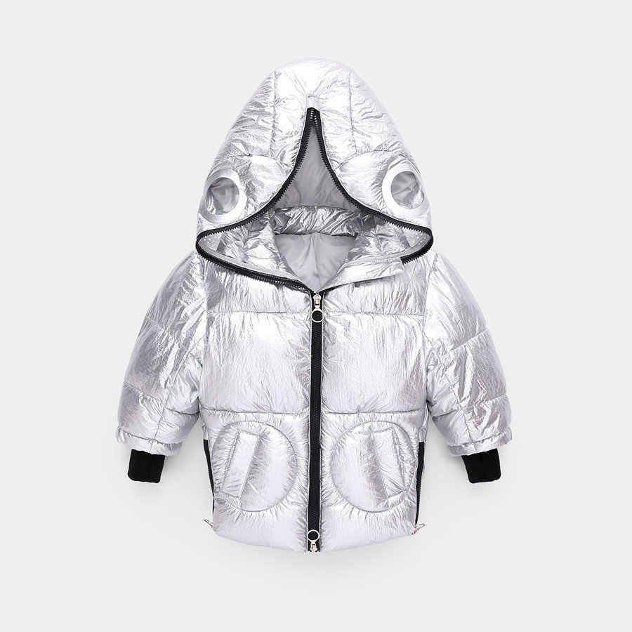 Jaqueta monstro minimalista para meninos 3-9 ano moda preto com capuz parka crianças casaco de inverno para meninas high street crianças outerwear
