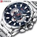 Мужские кварцевые часы CURREN  спортивные часы с хронографом из нержавеющей стали  кварцевые мужские часы с датой  2019