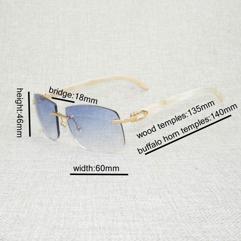 Image 5 - الرجعية الخشب المعتاد النظارات الشمسية الرجال الطبيعية أسود أبيض بوفالو القرن بدون إطار نظارات شمسية للخارجية الصيف Oculos Gafas-في نظارات شمسية رجالية من الملابس والإكسسوارات على AliExpress
