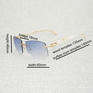 Image 5 - רטרו עץ Oversize משקפי שמש גברים טבעי שחור לבן באפלו הורן משקפי נטולי מסגרת עבור חיצוני קיץ Oculos Gafas