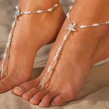 Women Anklet Faux Pearl Rhinestone Inlaid Starfish Beaded Toe Ring Anklet Ankle Jewelry bracelet on the leg Woman's accesories(China)