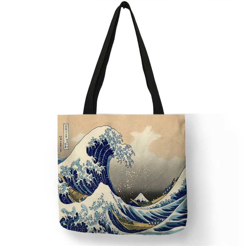 B06129 Japanese Ukiyoe Series Shoulder Bag  Women Handbags Classic Sea Wave Print  Tote Bags Girls Shopping Bag