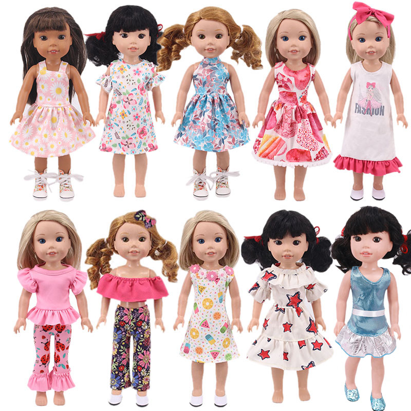 1Pcs Doll Floral Dress Suit For 14.5 Inch Wellie Wisher& 32-34Cm Paola Reina & Nancy Doll Accessories Doll Clothes,Girls Gifts