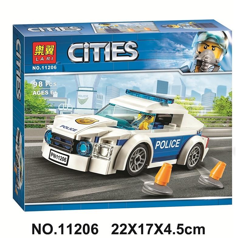 98Pcs City Series Police Patrol Car Building Blocks Bricks Bela 11206  Compatible Legoed 60239 Kids Toys Christmas Gift
