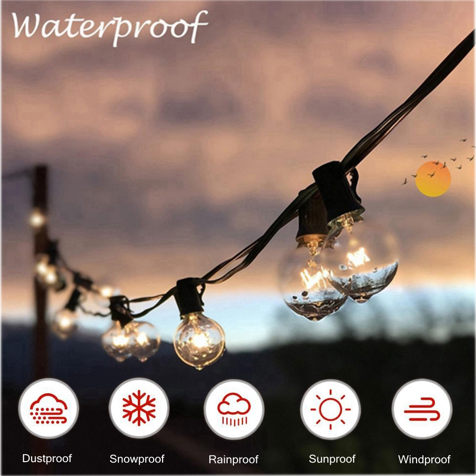 25 Globe Clear Bulbs G40 Lights Outdoor Garden Patio Wedding Garland Holiday String Lights Led Lights Decoration