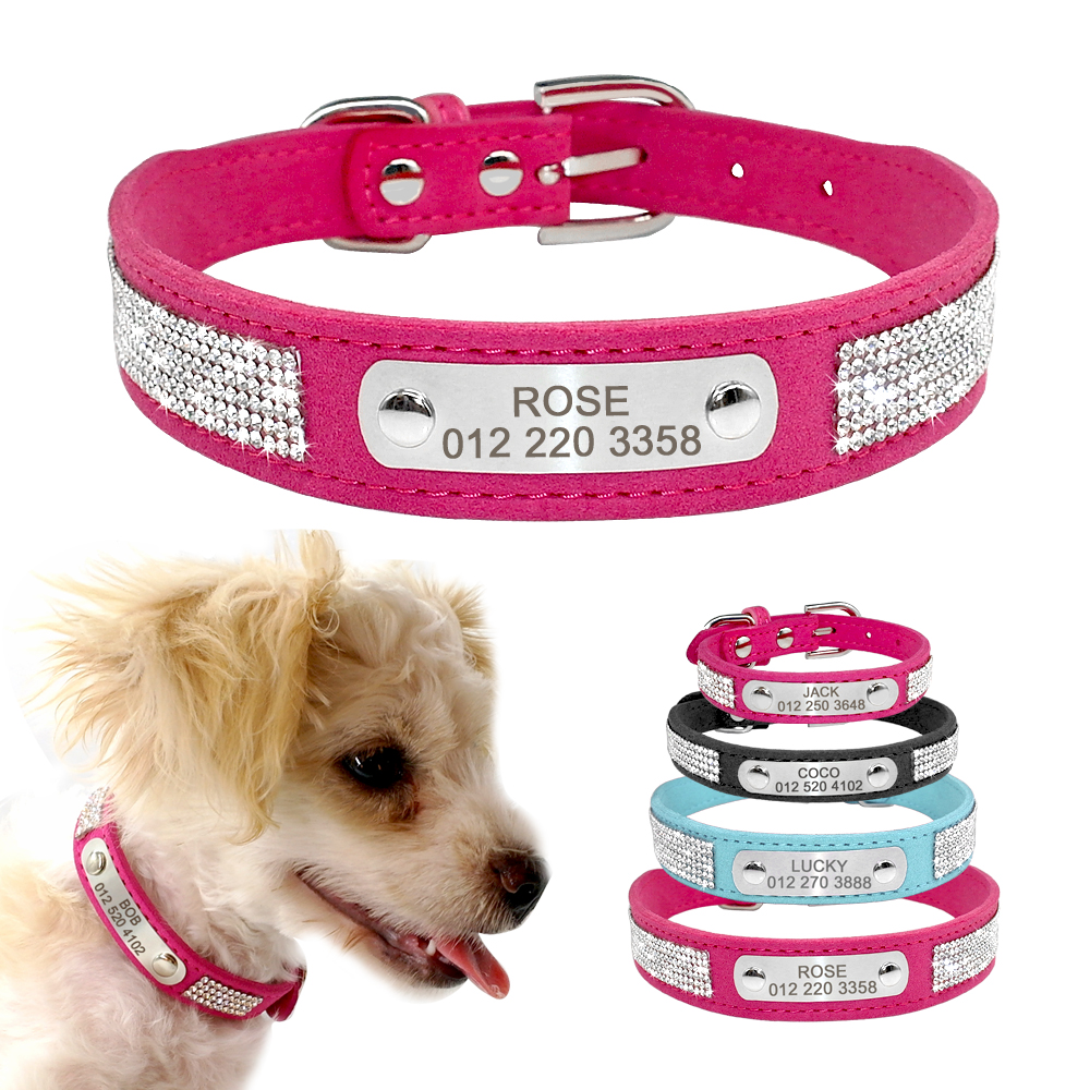 Personalized Dog Collar Leather Dog Puppy Collars With Customized Name Tag Adjustable Cat Collar For Small Medium Dogs Cats