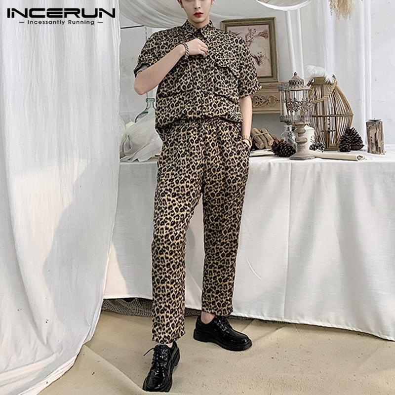 INCERUN Fashion Leopard Print Men Sets Short Sleeve Streetwear 2021 Shirts Casual Pants Party Chic Pockets Men Suit 2 Pieces Set