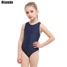 Riseado Solid Girls One Piece Swimsuit Sport Swimwear Competitive Children Bathing Suit Racer Back Swimming 2019 Bodysuit
