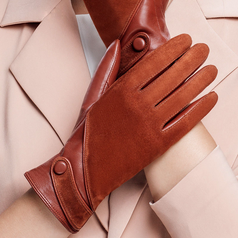 NEW Sheepskin Suede Woman's Real Leather Fashion Plus Velvet Gloves Female Driving Leather Gloves Keep Warm NW563