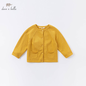 DB14911-1 dave bella autumn infant baby girls fashion letter solid cardigan kids toddler coat children cute knitted sweater image