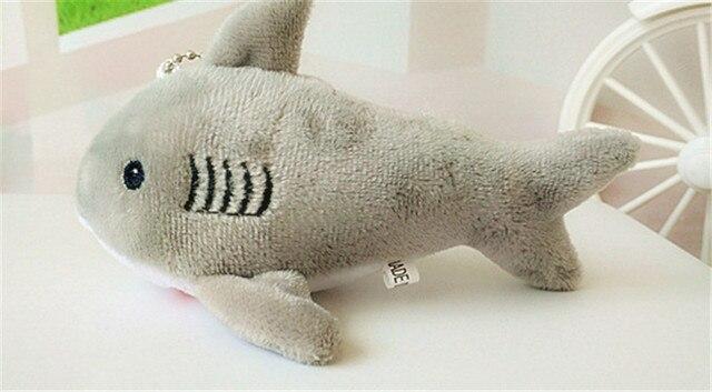 12cm mały pluszak zabawki śliczne Shark pluszowy breloczek kobiet brelok samochodowy pompon breloczki kobiety torebka klucz wisiorek