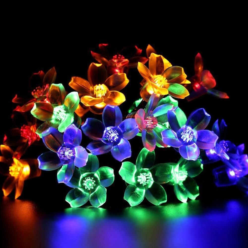 50 LEDs Solar String Lights Fairy Flower Color Solar Christmas Lights String Family Holiday Decoration Lights Xmas Tree Decor