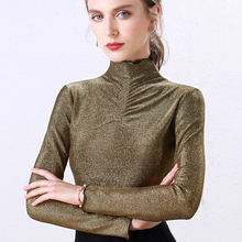 Turtleneck Blouse 2019 Elegant Fashion Women Basic Ruffles Tops Long Sleeve Blusa Femme Slim Ladies Plus Size Gold Silver