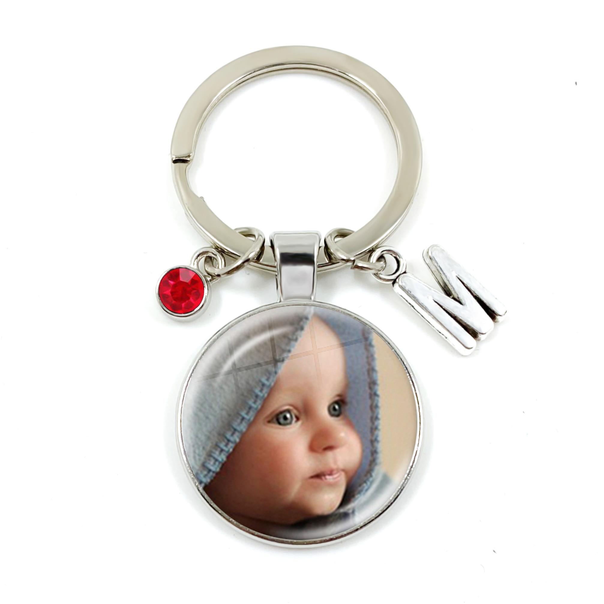 Personalized Custom Keychain Birthstone 26 Letters Photo Mum Dad Baby Children Grandpa Parents Pendant Keyholder Keyring Gift