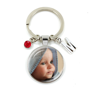 Personalized Custom Keychain Birthstone 26 Letters Photo Mum Dad Baby Children Grandpa Parents Pendant Keyholder Keyring Gift dear mum and dad