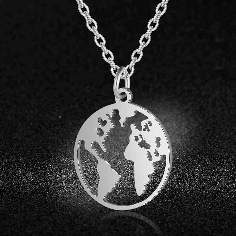 AAAAA Quality 100% Stainless Steel World Map Charm Necklace for Women Never Tarnish Jewelry Necklace Super Fashion Charm Jewelry
