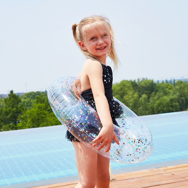 Children 's Swim Ring Transparent Sequined Swimming Ring Inflatable Swimming Pool Float Kid Pool Baby piscina kids for family