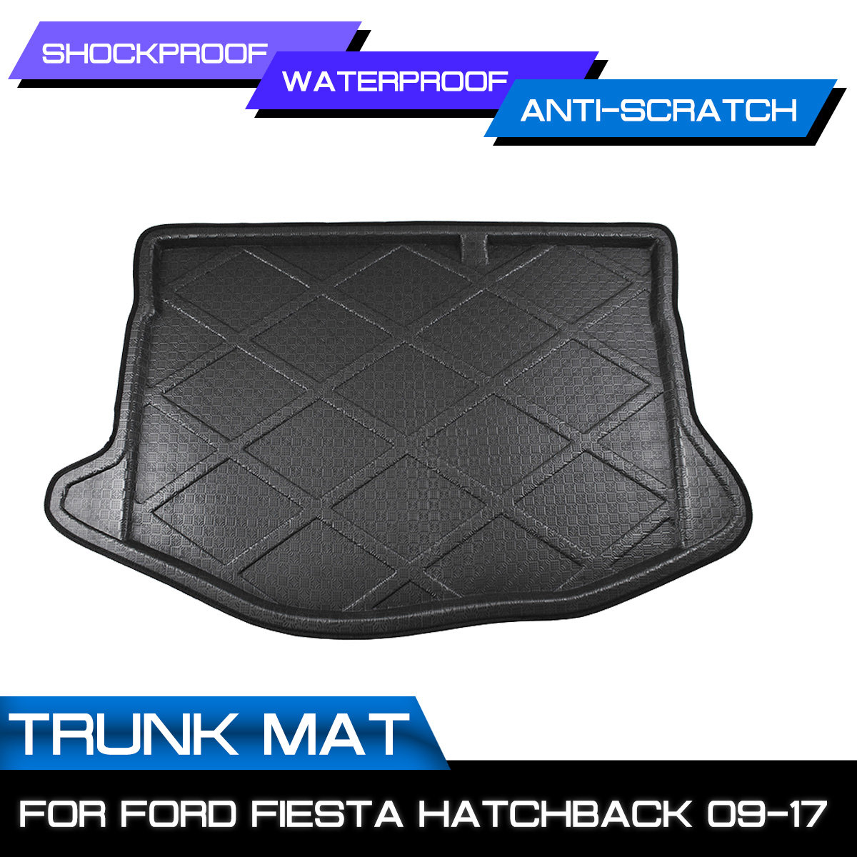 Car Rear Trunk Boot Mat Waterproof Floor Mats Carpet Anti Mud Tray Cargo Liner For Ford Fiesta Hatchback 2009 2017|  - title=