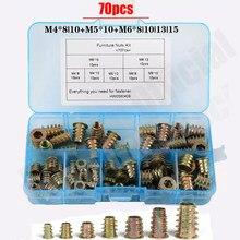 70 Pçs/set M4/M5/M6 * 8/10/13 Fio Da Liga do Zinco Para Inserção de Madeira Porca Flange Hex Cabeça Da Unidade Móveis Nozes Variedade Kit HW058