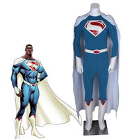 Superman Cosplay Costume with White Cloak Halloween Costumes for Man Cool Cape Superhero