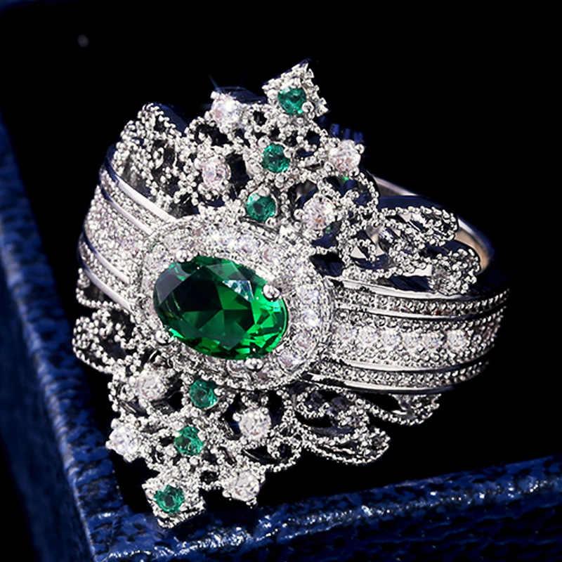 Huitan Luxury Queen สไตล์แหวนโบราณอียิปต์มงกุฎ Micro Paved Zircon แหวนค็อกเทล Neo-Gothic ขายส่ง jewel
