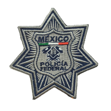Military patches Mexico police embroider badges manufacturer iron on backing 3.0inch height could make as your logo