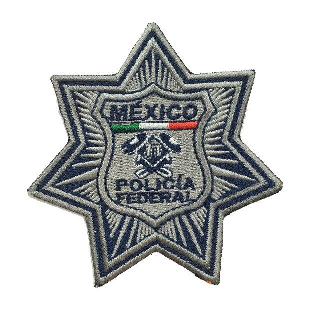 Quân Sự Miếng Dán Mexico Cảnh Sát Thêu Huy Hiệu Hãng Sản Xuất Sắt Trên Lưng 3.0 Inch Chiều Cao Có Thể Làm Như Bạn Logo