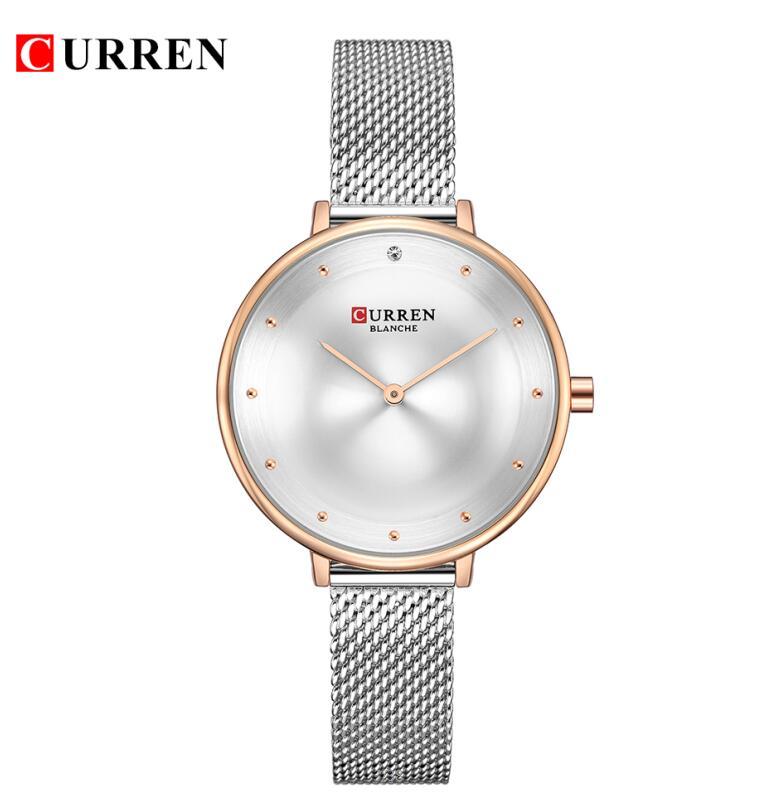 CURREN Модные роскошные женские часы, серебро, нержавеющая сталь, сетка, кварцевые женские часы, водонепроницаемые женские часы, Relojes Para Mujer