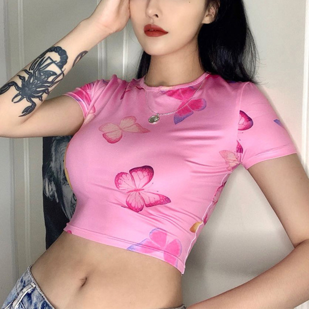 Women Summer T-Shirt Fashion Crop Tops Short Sleeve Butterfly Print Round Neck Cute Style T-Shirts Aesthetic Cropped Tee Tops