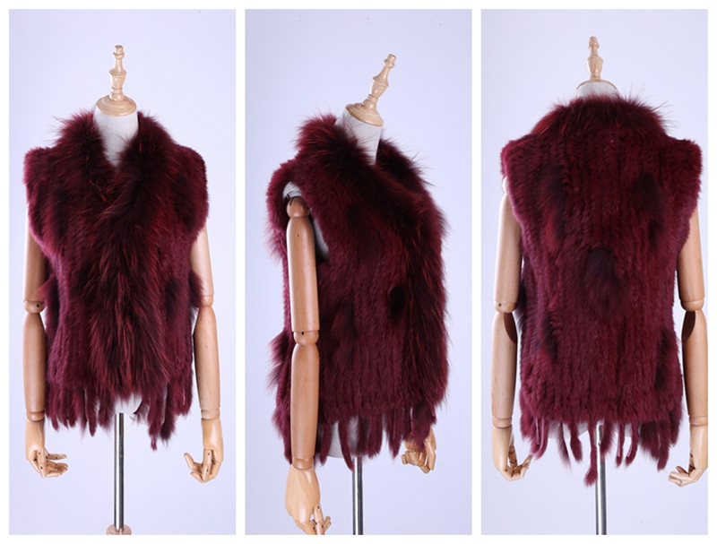 Hf12aae811d5a48a69fc74224b03dcedcJ Brand New Women's Lady Genuine Real Knitted Rabbit Fur Vests tassels Raccoon Fur Trimming Collar Waistcoat Fur Sleeveless Gilet