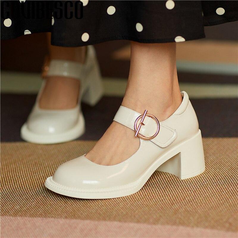 COVIBESCO moda Mary Janes zapatos de mujer de cuero genuino de Monda nuevo Sandalias de tacón grueso de plataforma zapatos de fiesta Casual Mujer