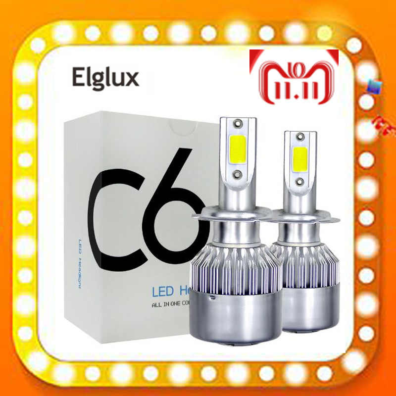 Elglux Super bright Auto Car H8 H11 H7 H4 H1 LED Headlights 6500K Cool white 72W 8000LM COB Bulbs Diodes Automobiles Parts Lamp