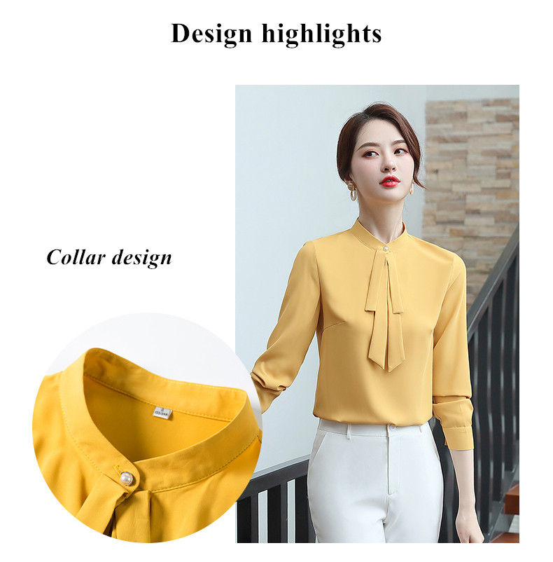Elegant women long sleeve shirt 2019 New autumn temperament yellow bow tie chiffon blouses office ladies fashion work tops
