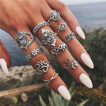 15 Pcs/set Women Fashion Rings Hearts Fatima Hands Virgin Mary Cross Leaf Hollow Geometric Crystal Ring Set Wedding Jewelry 46