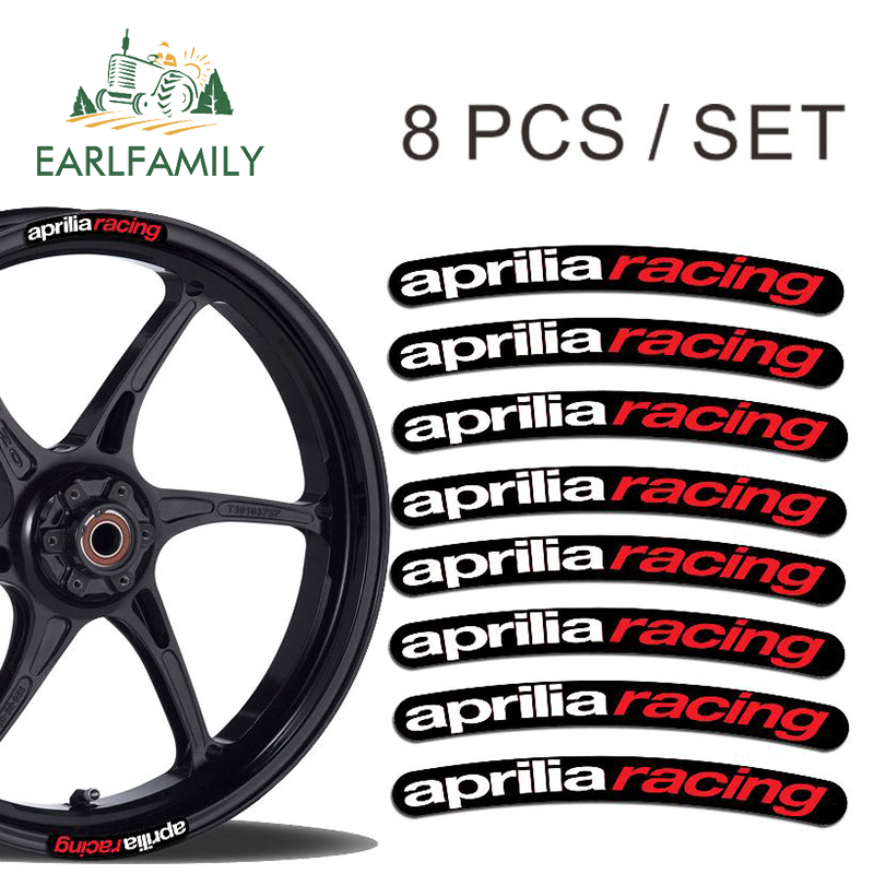 EARLFAMILY 13cm X 1.3cm 8x For Aprilia Racing Rim Sticker Wheel Stripes Set Car Motorbike Motorcycle Decal Flat Glue Car Sticker
