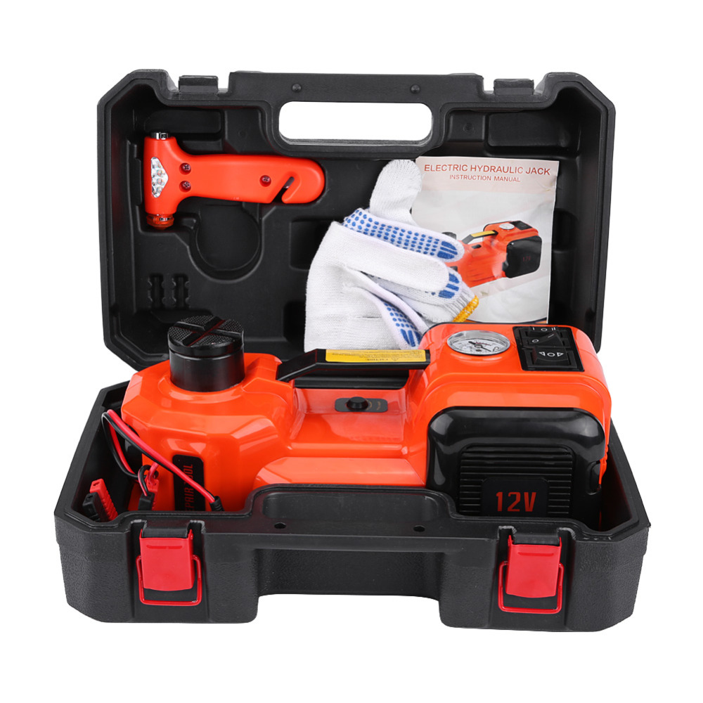 12V 5Ton Car Jack Tire Electric Hydraulic Lifting Auto Lift lift Inflator Flashlight Safe Hammer 3 in 1
